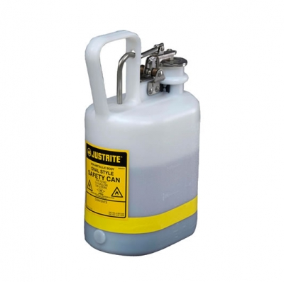 Bidon Justrite 4lts  Tipo I - Plastico Blanco Para Acidos Y Corrosivos Con Accesorios De Acero Inoxidable 12162